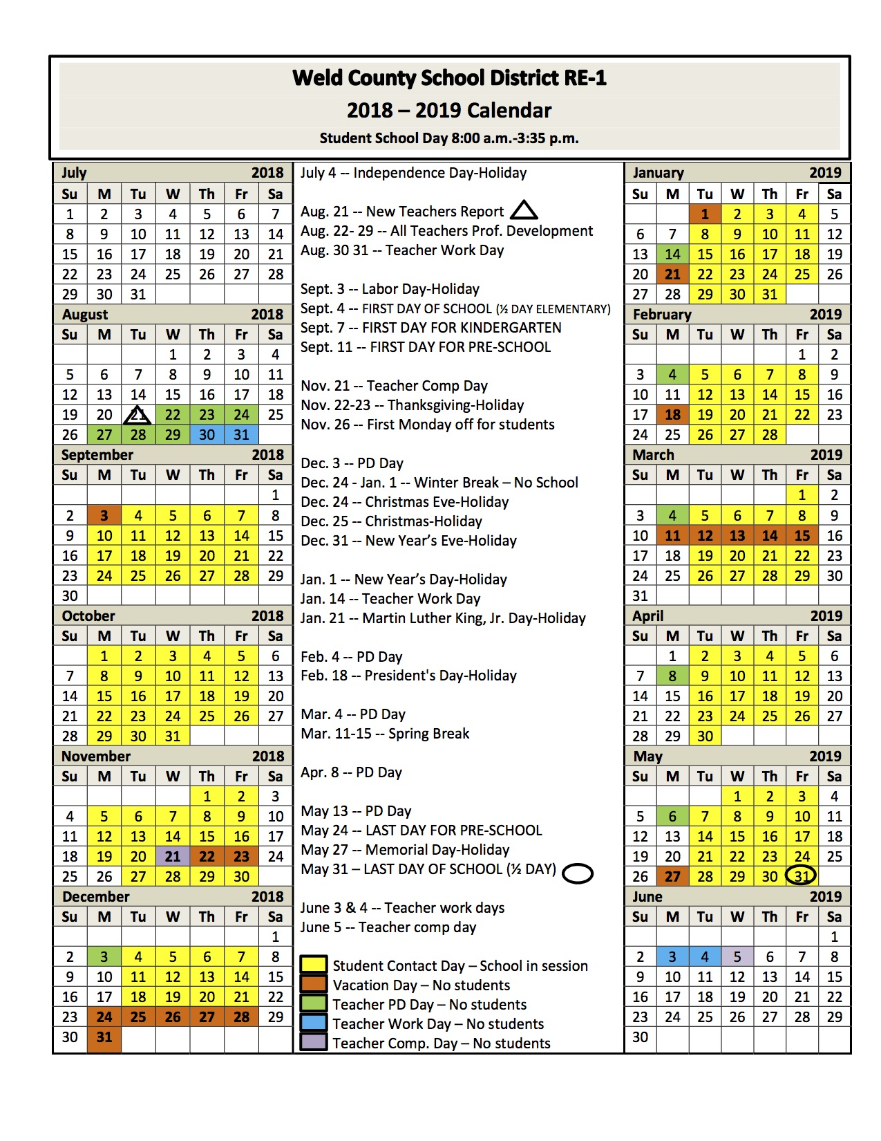 2018/2019 School Year Calendar (English)