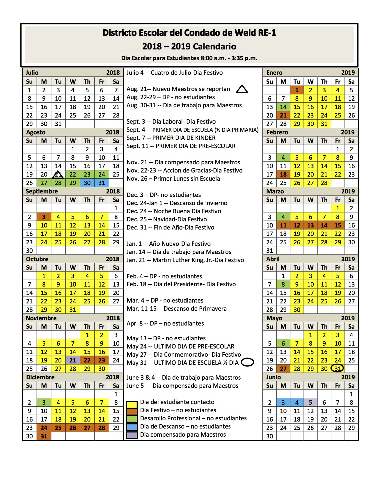 2018/19 School Year Calendar  (Spanish)