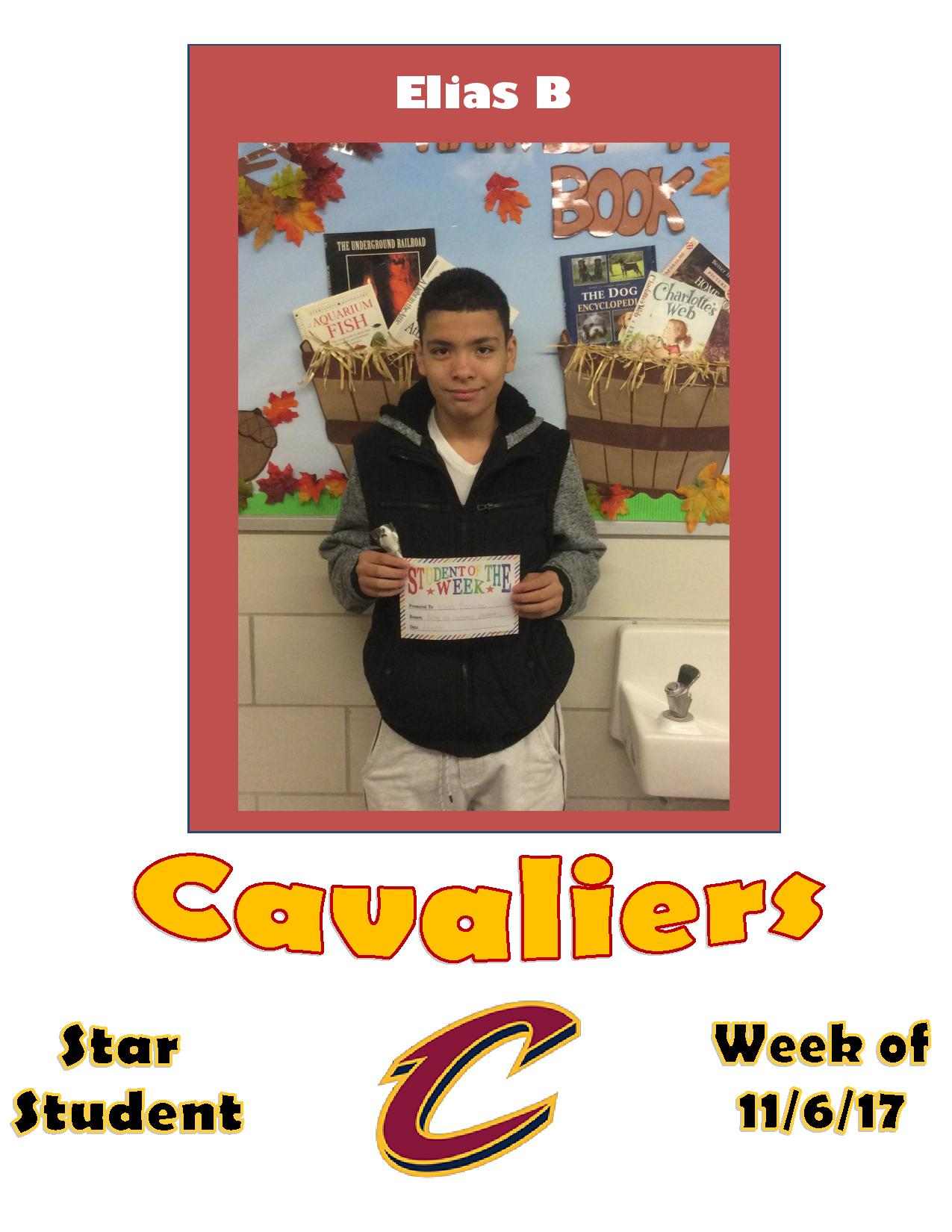 Elias B is the Cavaliers Star Student of the week