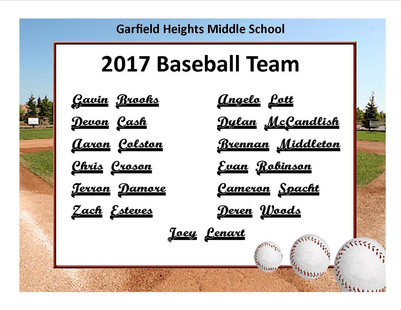2017 8th Grade Baseball Team Roster