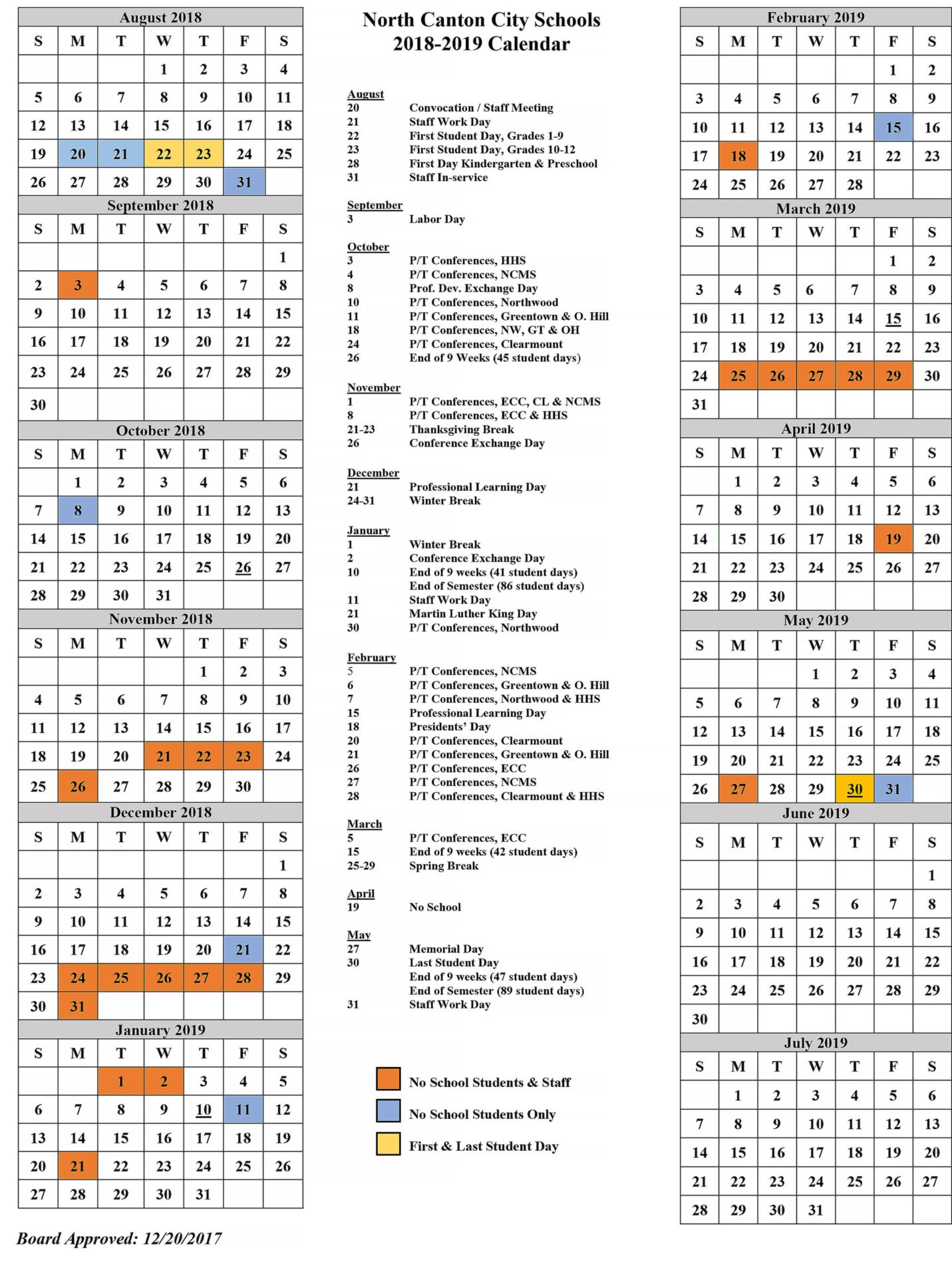 calendar for 2018-2019