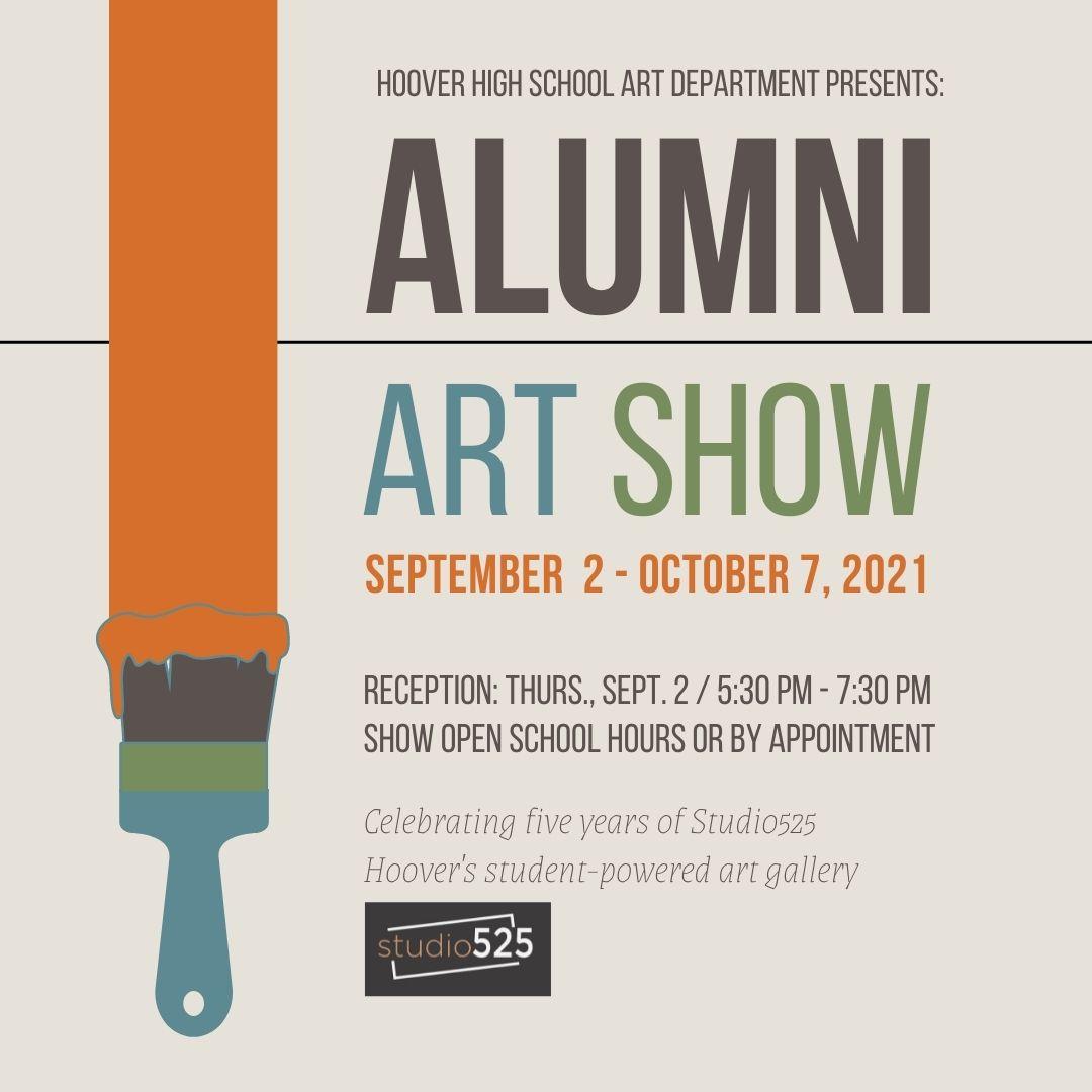 brush with orange paint promoting alumni art show