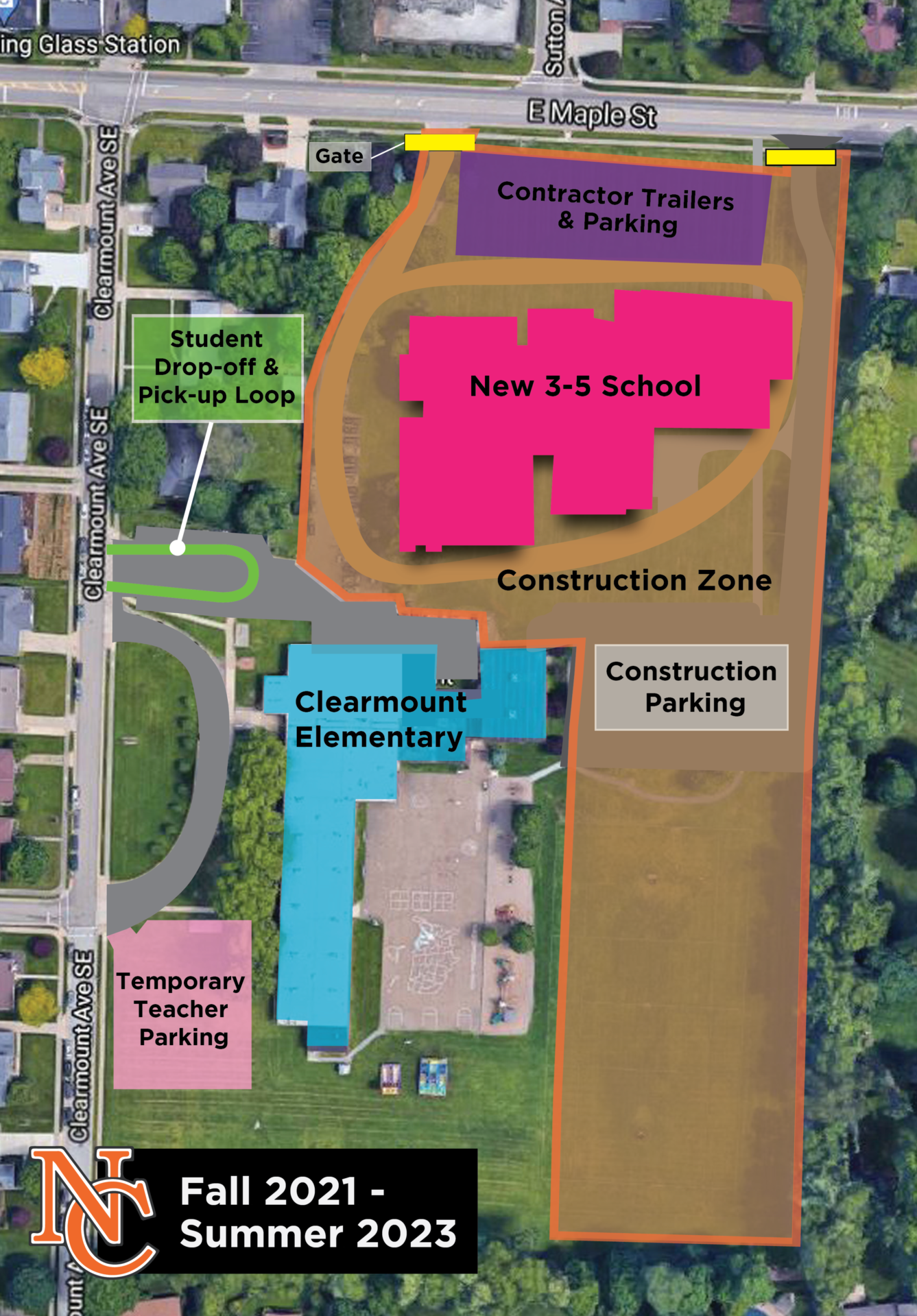 site map for the construction area at Clearmount Elementary