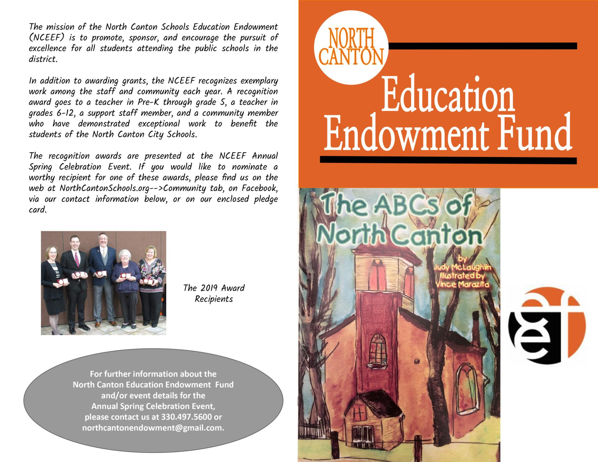 brochure in orange and white promoting the Education Endowment Fund