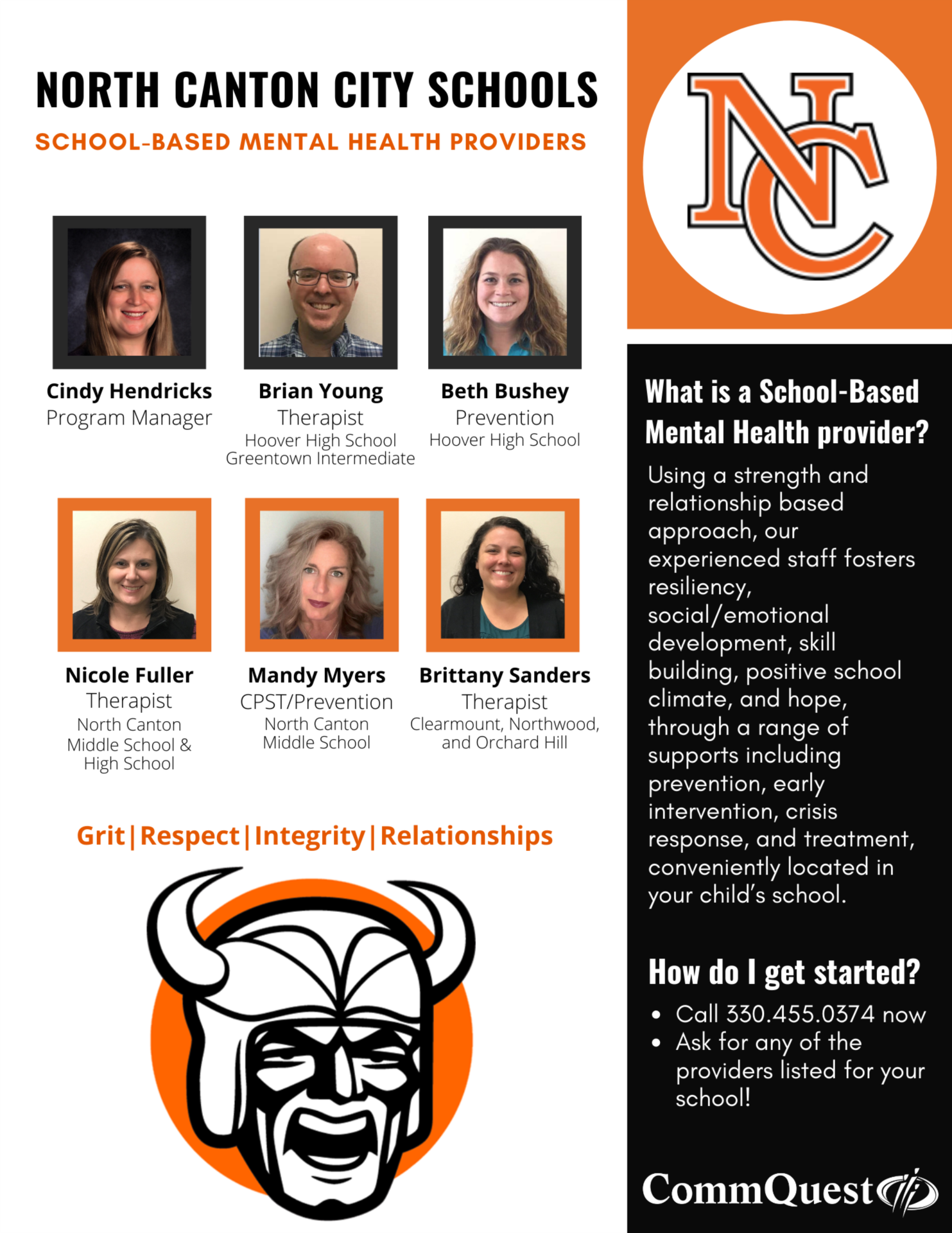 flyer with six photos of counselors