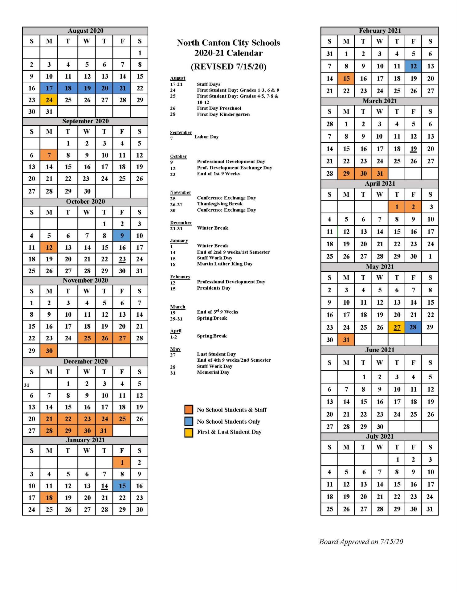 school district calendar for 2020 to 2021
