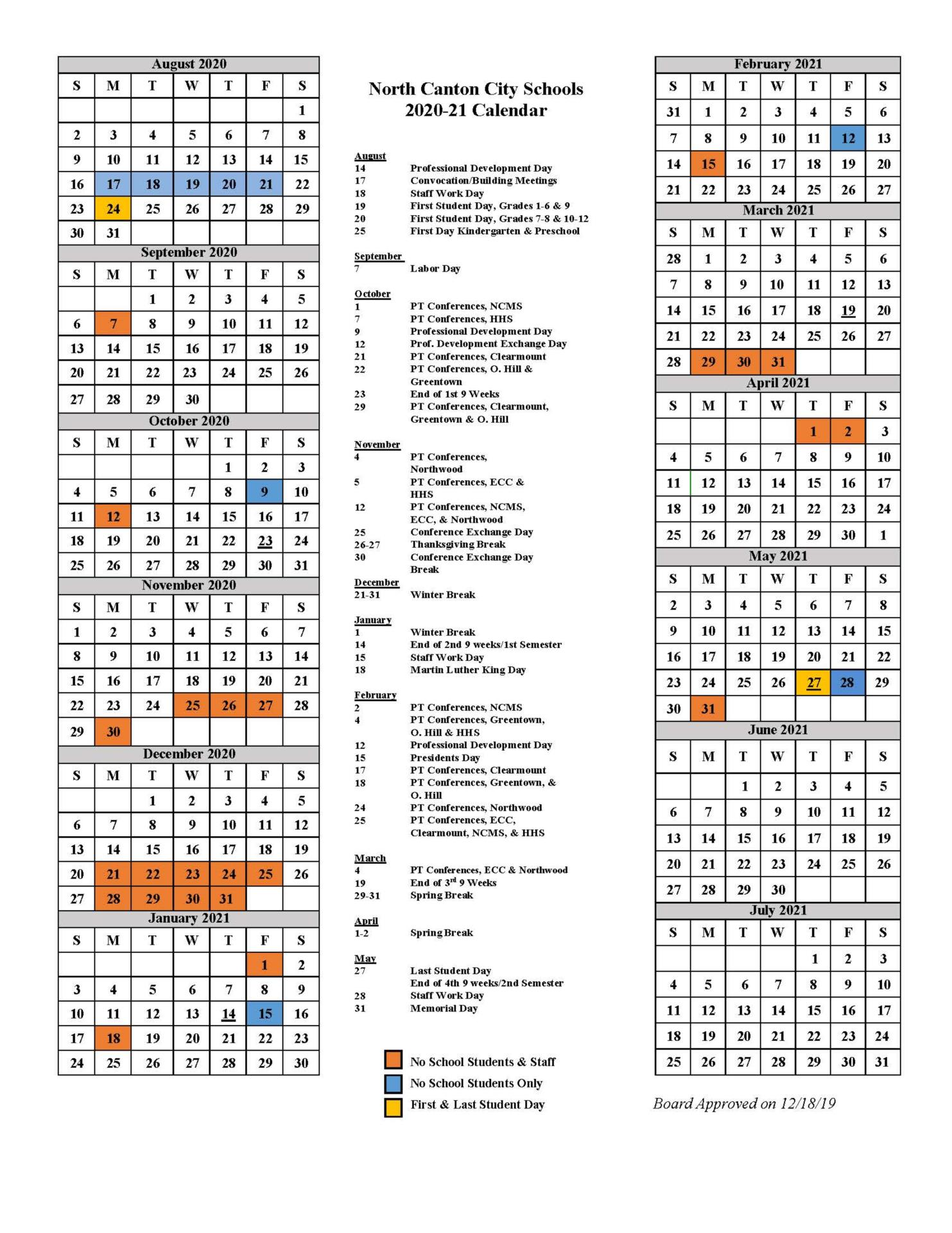calendar with special events highlighted