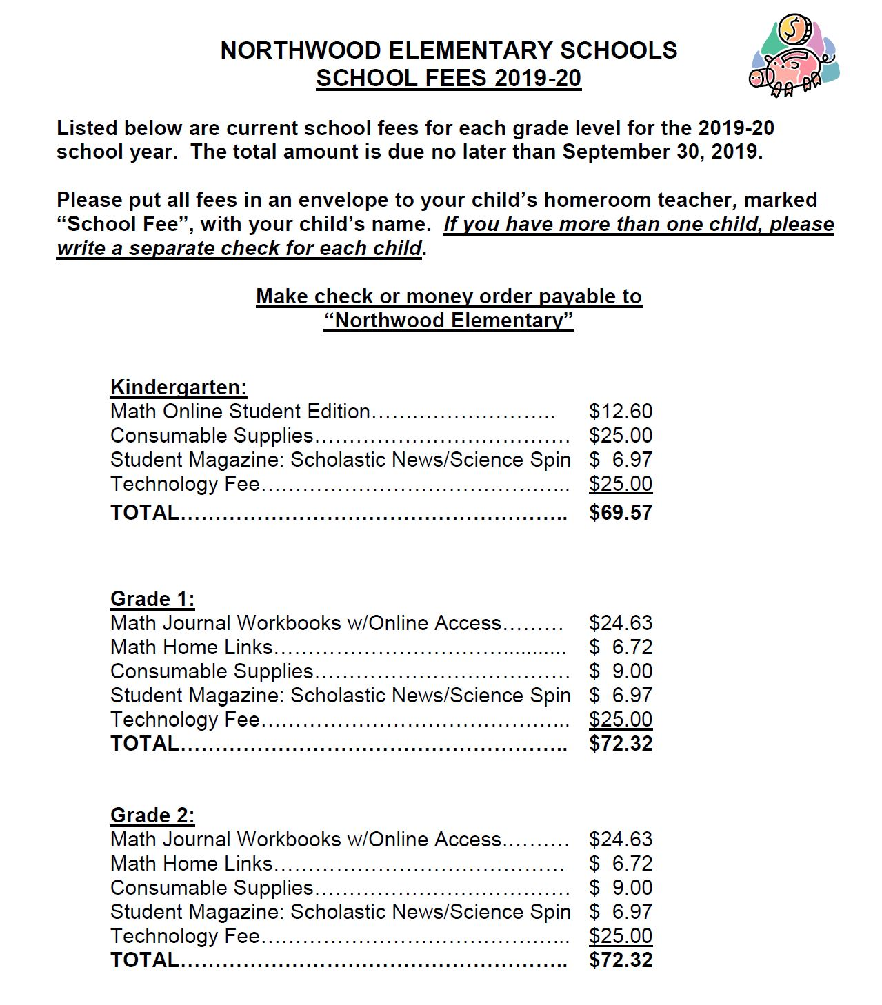 Photo of school fees for K-2
