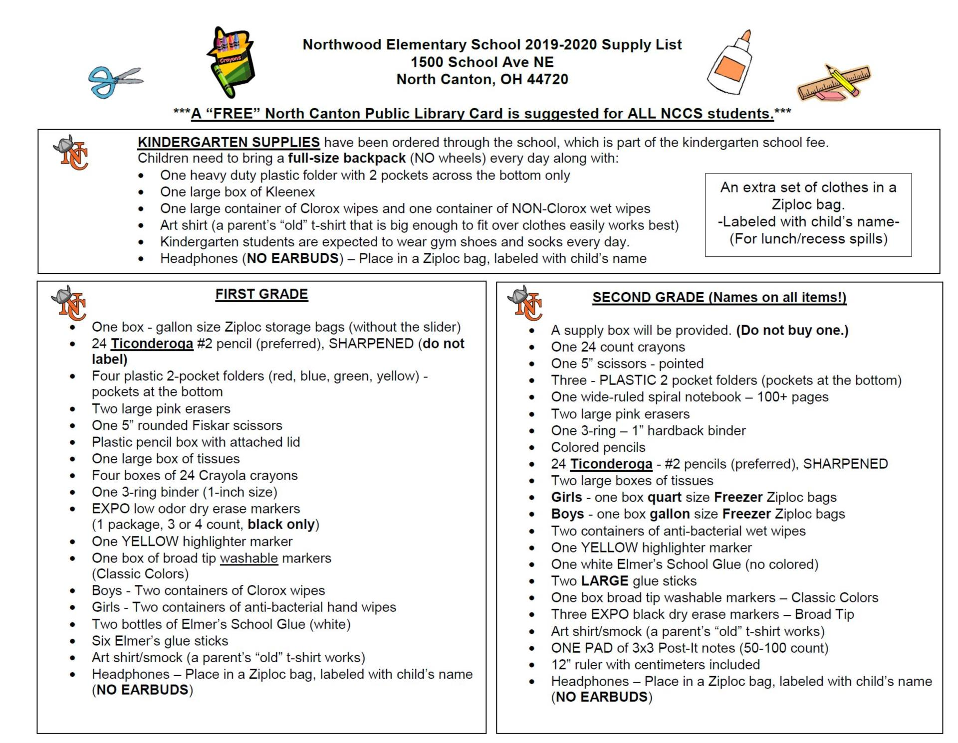 Photo of the supply list for grades K-2