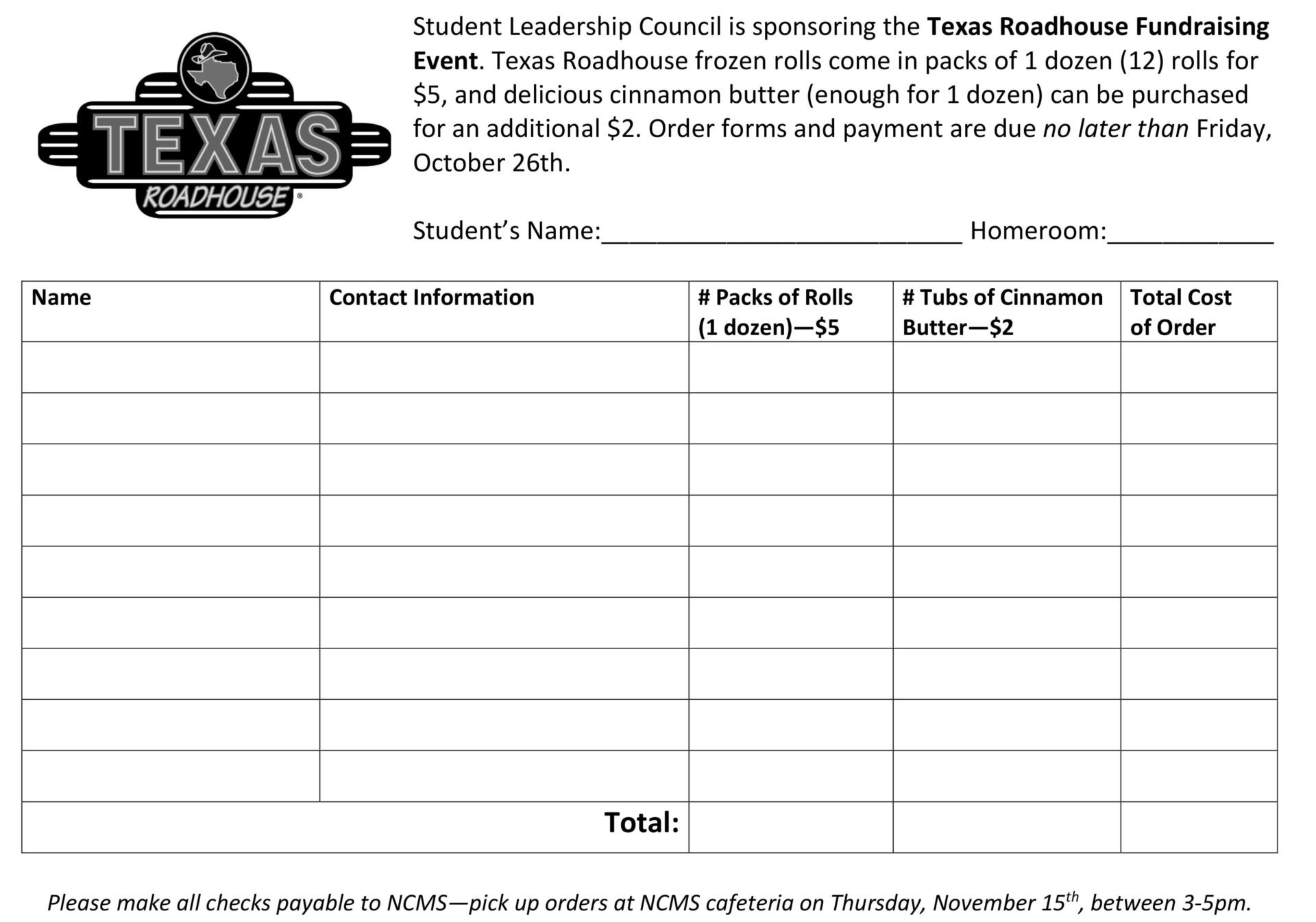 Order form for Texas Roadhouse