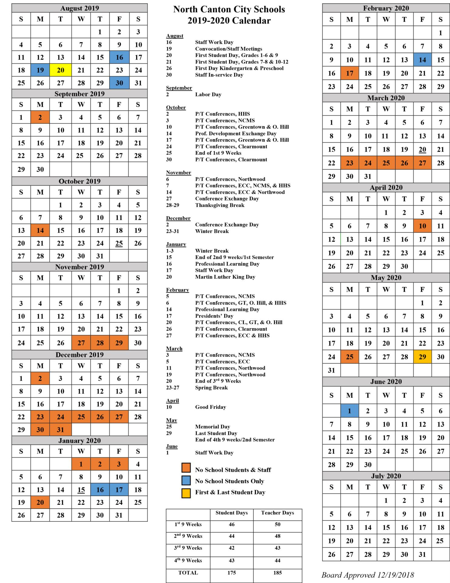 photo of a calendar listing all the dates for the 2019-20 school year