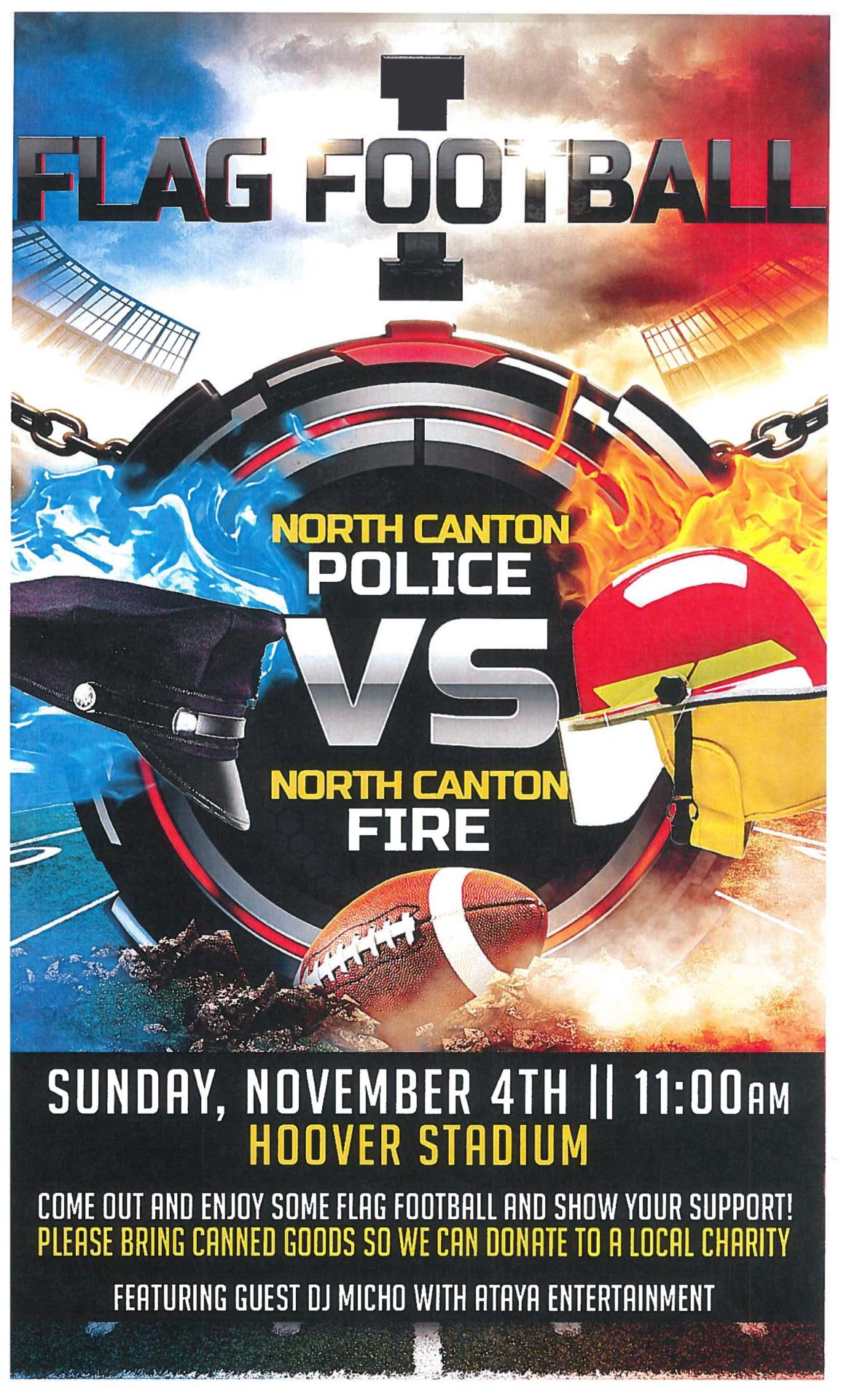 poster for flag football game between police and firemen