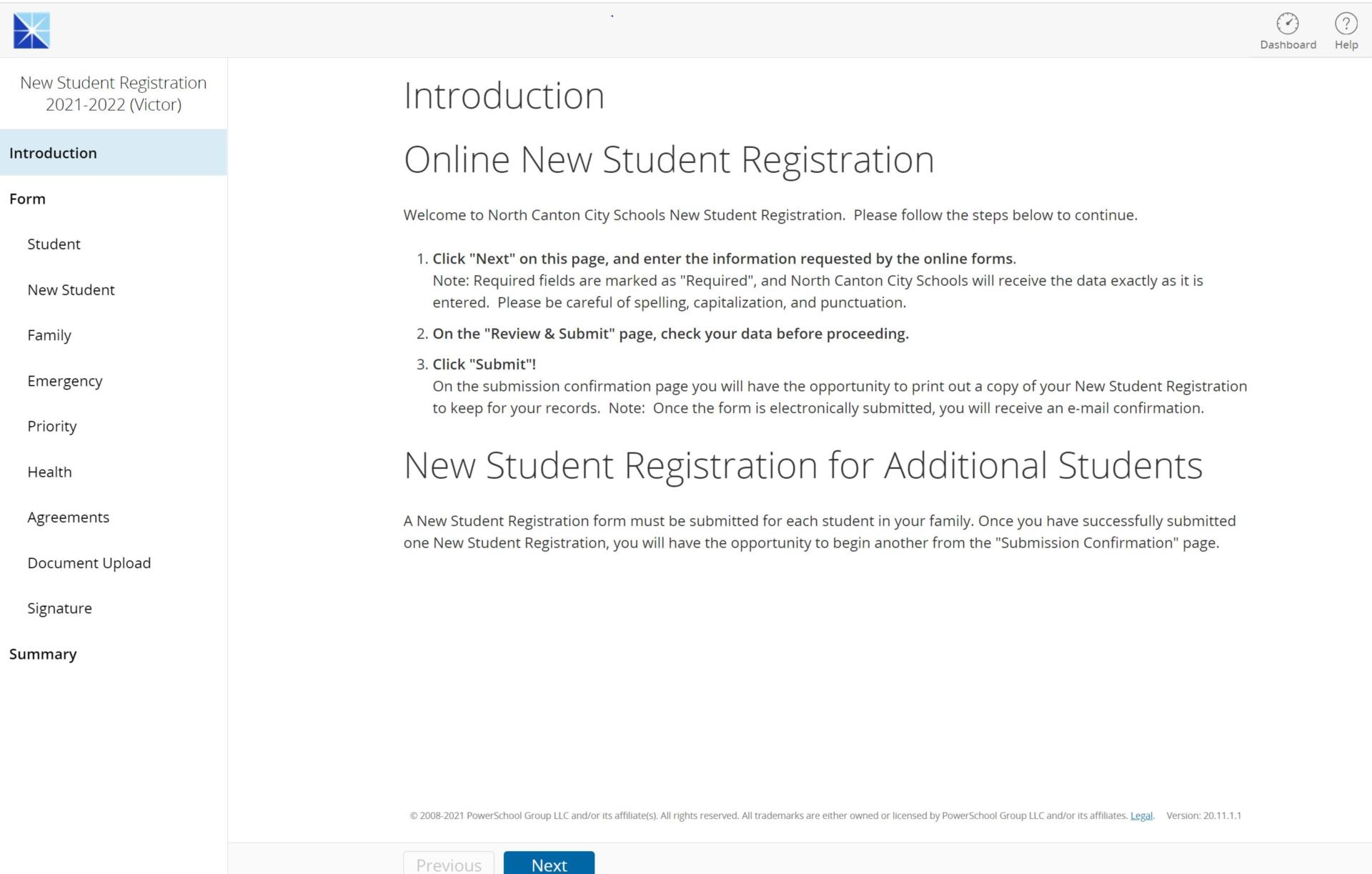 Introduction to new student registration information