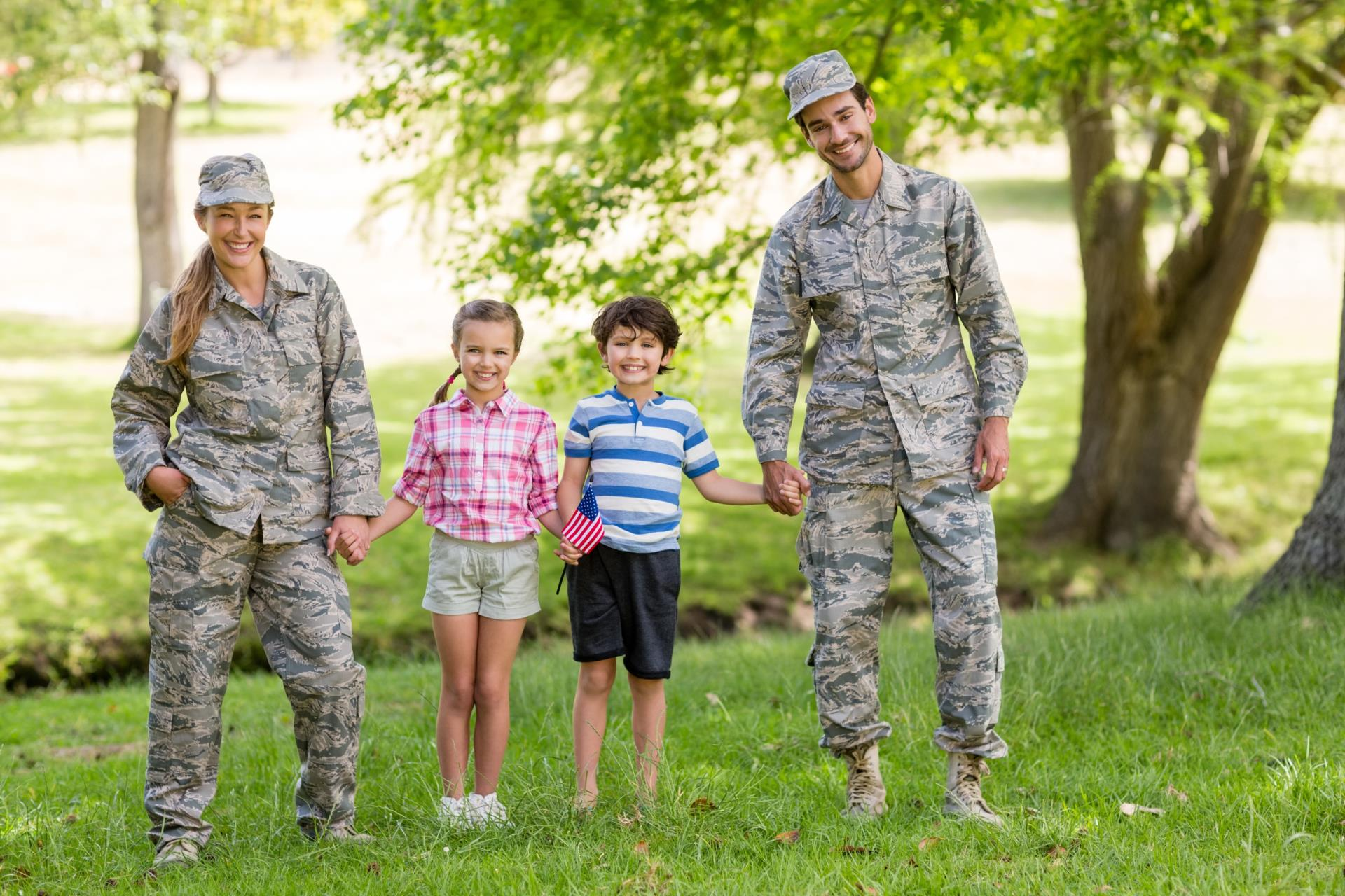 military family with mom, dad, daughter, son