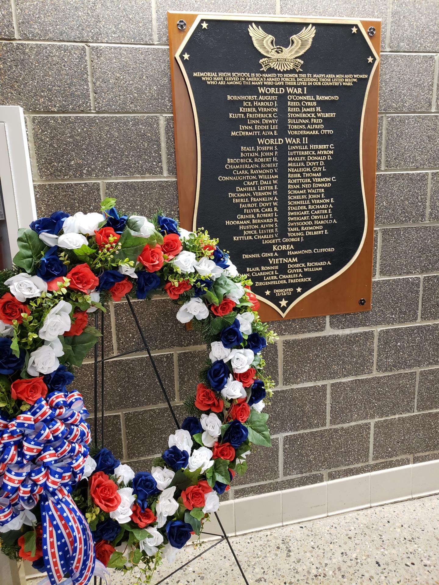 Wreath and dedication plaque