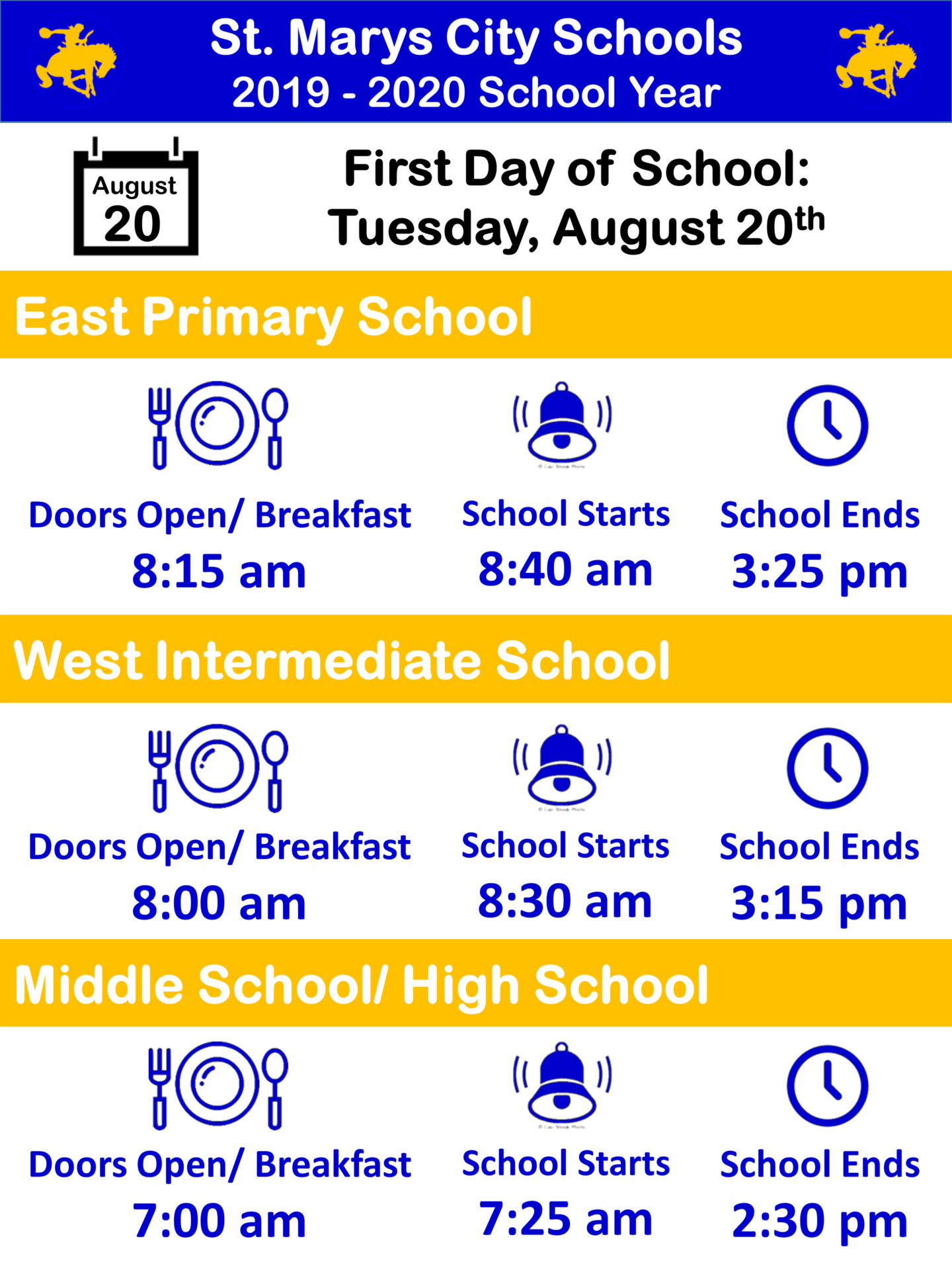 Picture lists the starting and ending Times for Each School are listed
