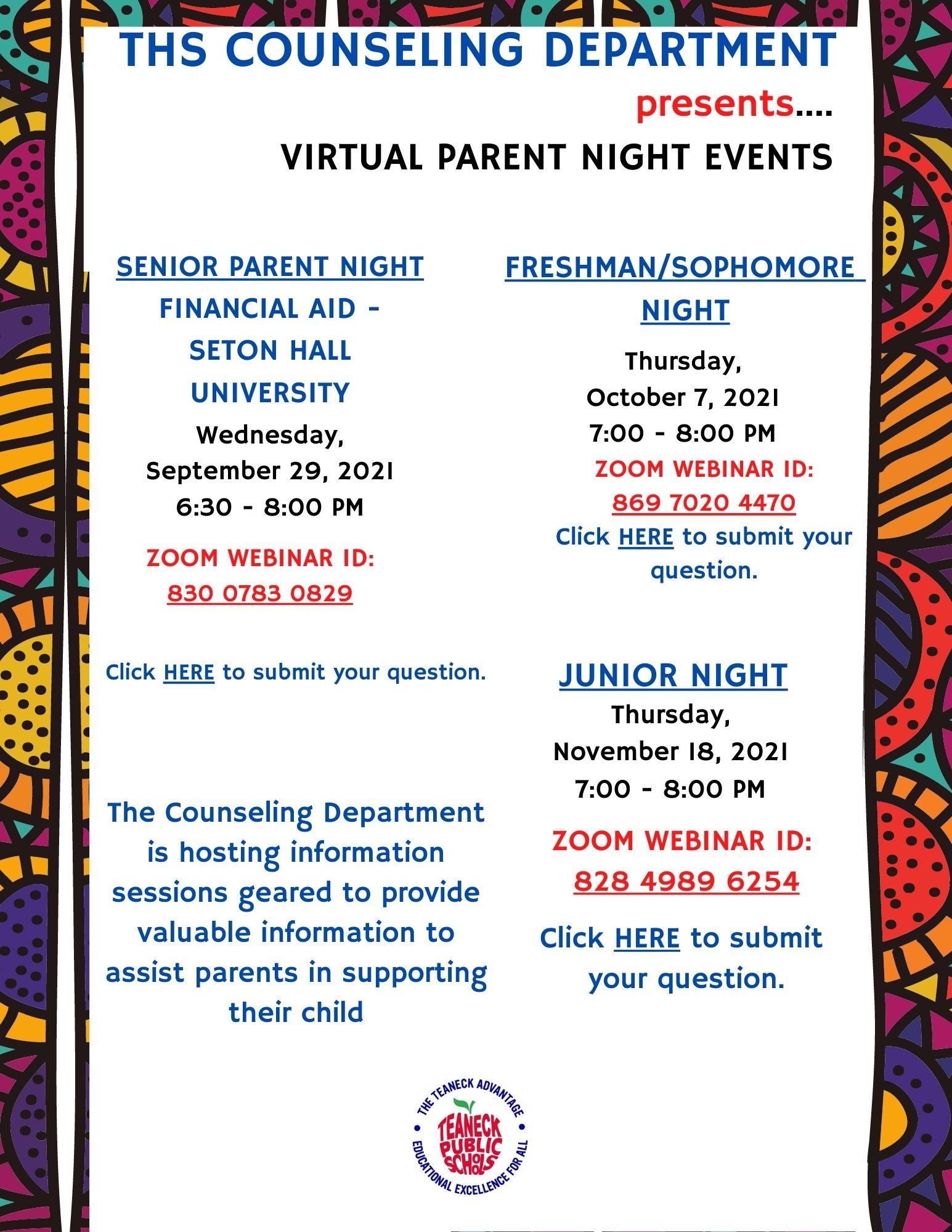 Parents Night 2021 (12, 9-10,11 Grades)