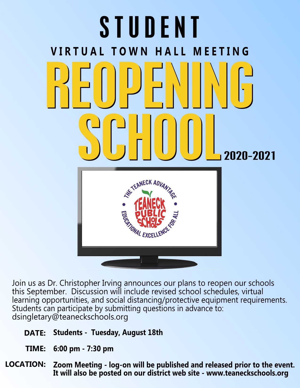 TEANECK TOWN HALL REOPENING STUDENT