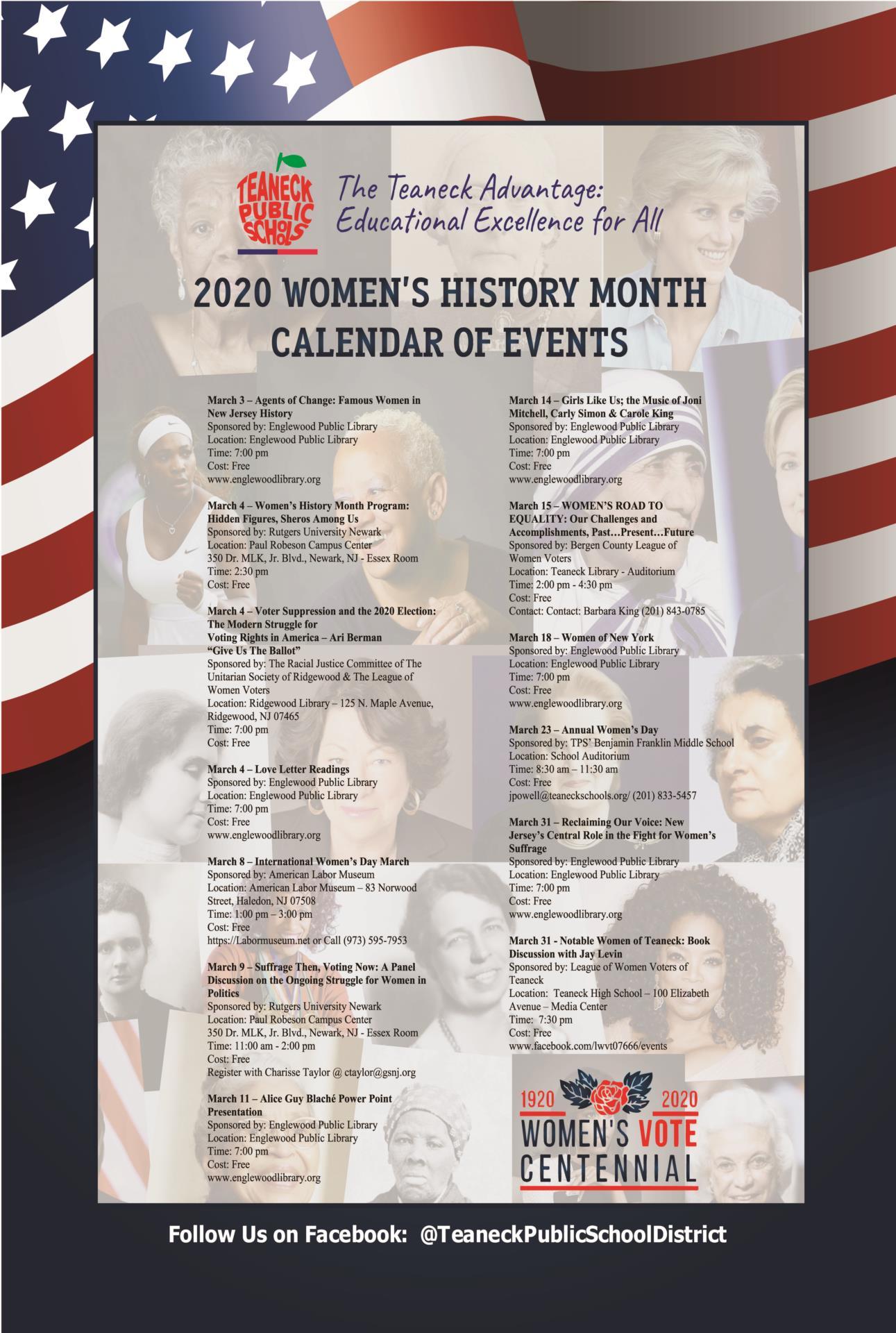 2020 Women's History Month Calendar