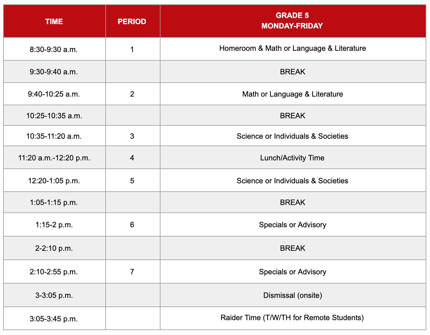 Grade 5 Hybrid Schedule