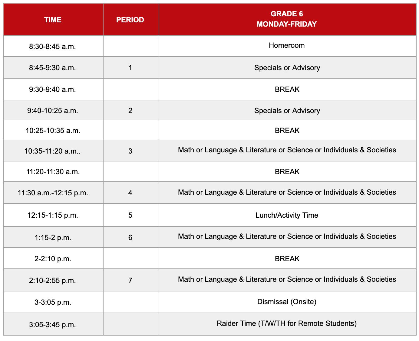 Grade 6 Hybrid Schedule