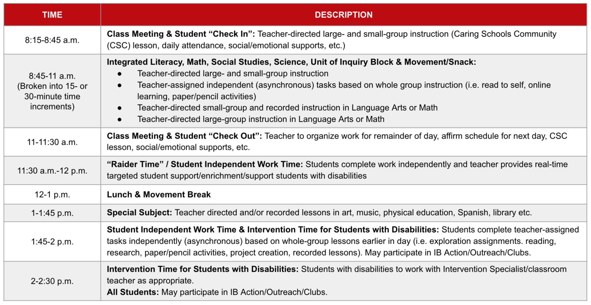K-4 Sample Schedule Grid