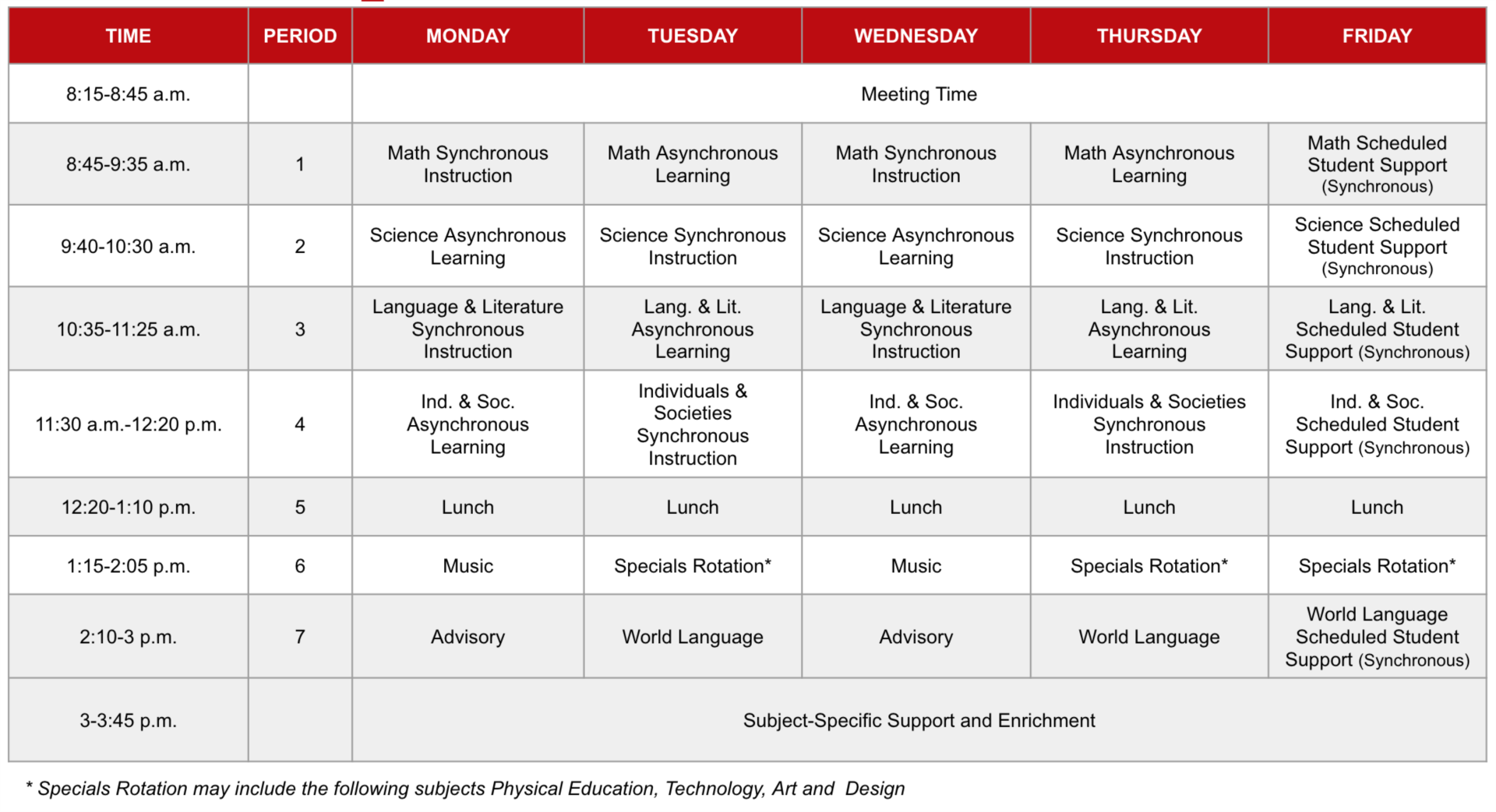 Woodbury Remote Learning Sample Schedule Grid