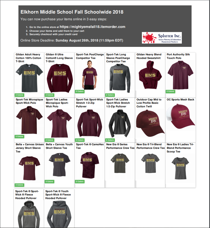 order form for EMS school shirts
