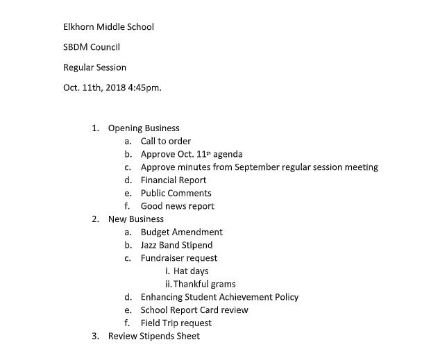 SBDM Agenda for October
