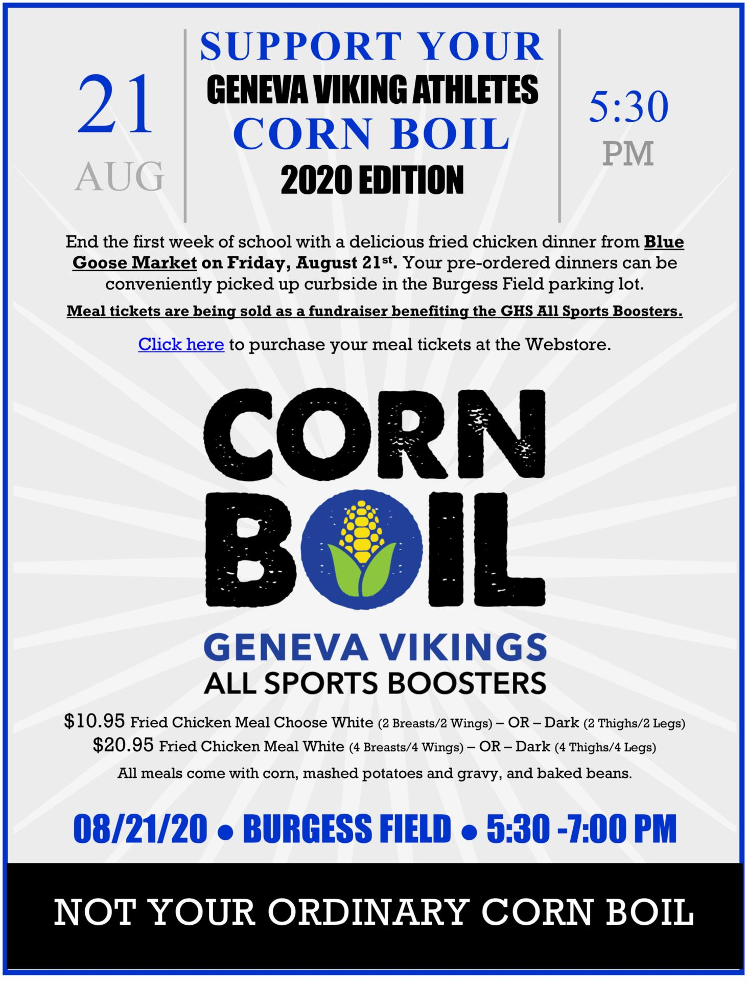GHS Corn Boil 2020 - 8/21/2020 - Burgess Field - 5:30 pm to 7:00 pm