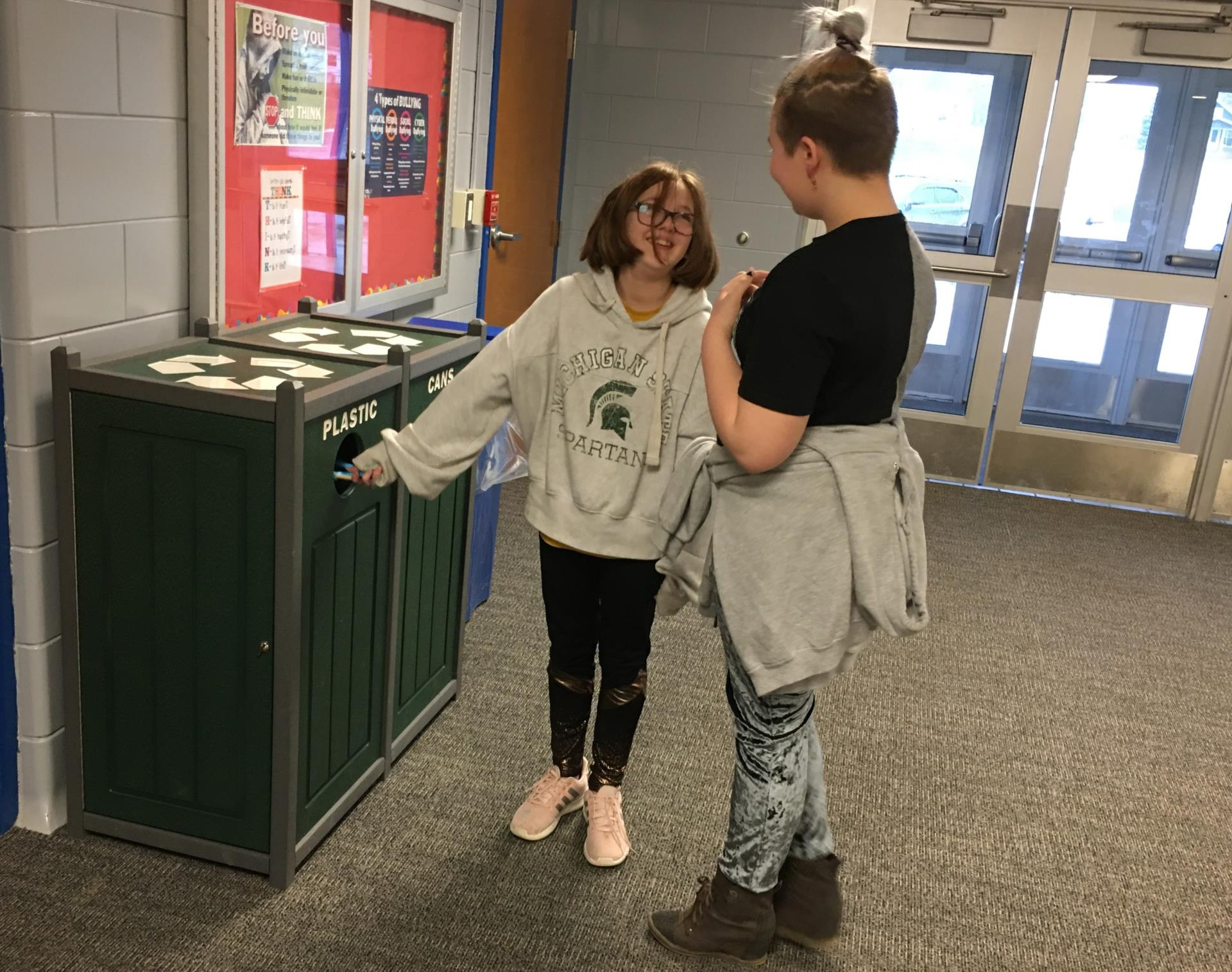 Recycling Bins in Use