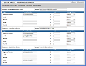 Update Select Contact Information