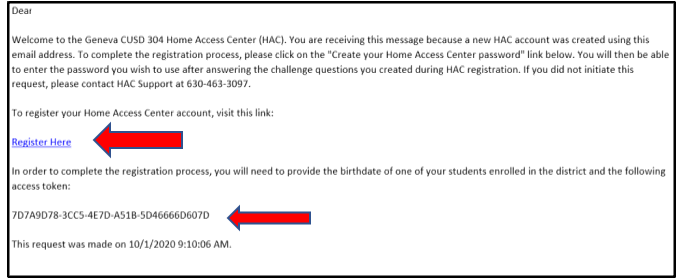 Example of Getting Your Access Code Email