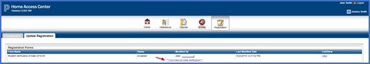 Update Registration Window