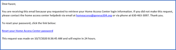 Email Example with Link to Reset HAC Password