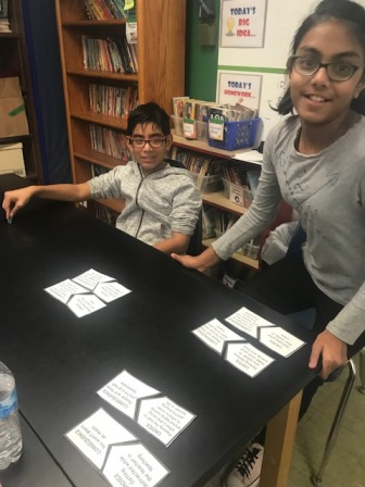 students participating in a matching activity to learn how to make good choices