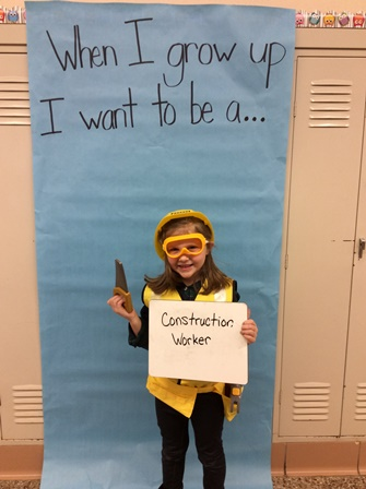 student dressed up as a construction worker