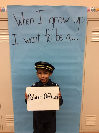 student dressed up as a police officer