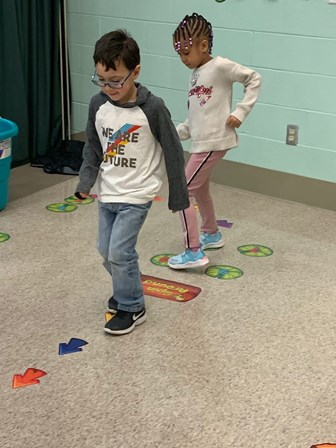 students using sensory path
