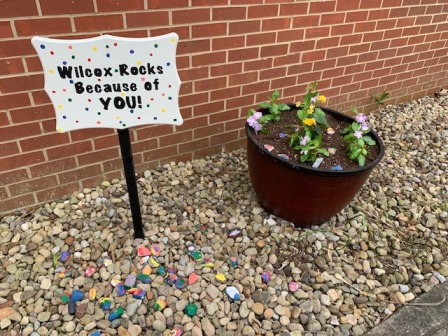 Rock Garden with sign that says Wilcox rocks because of you