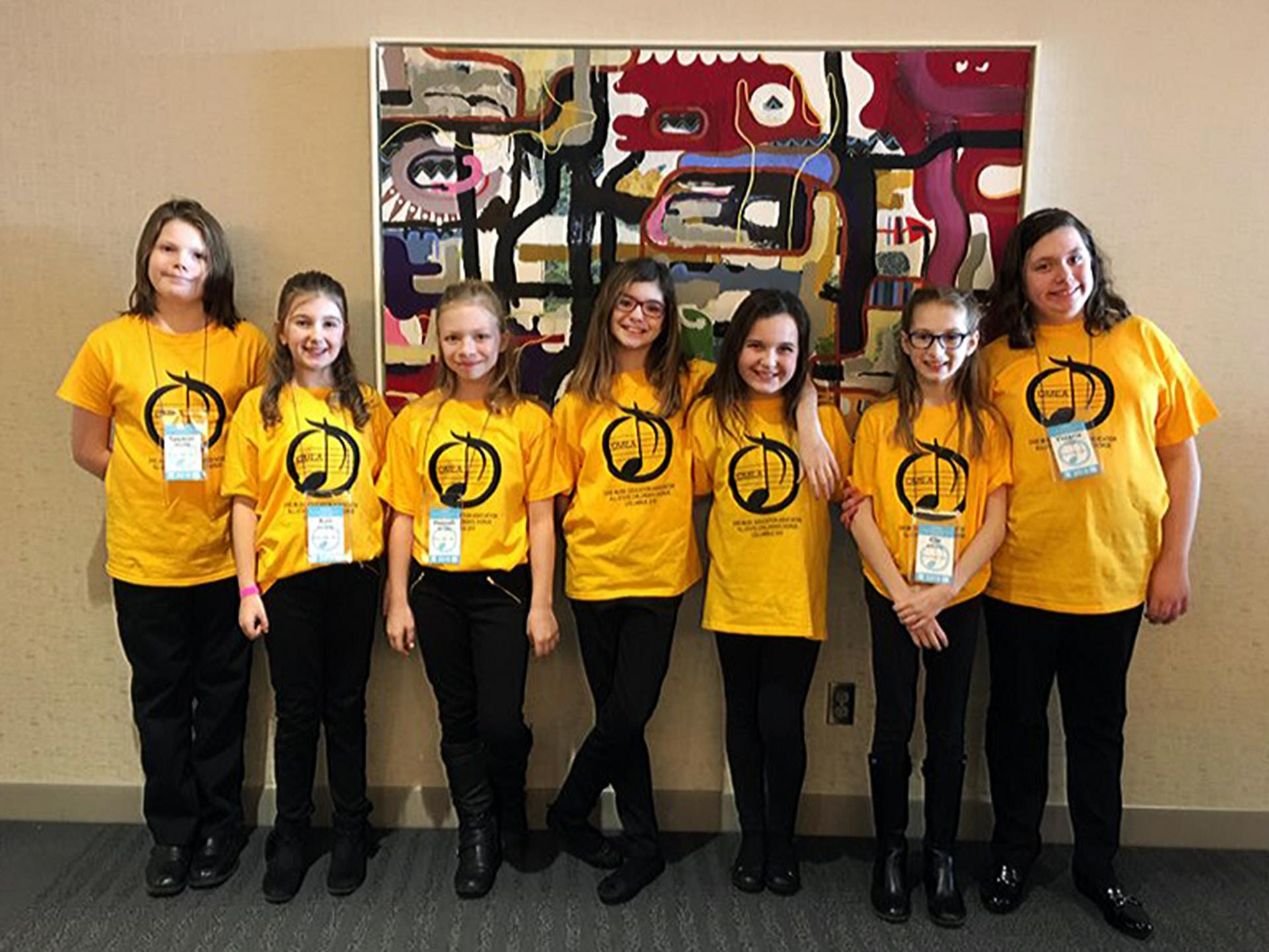 Perry Middle School fifth graders selected to perform with the 2018 Ohio Music Education Association's All-State Children's Chorus are (from left to right), Spencer Kilpatrick, Aria Lombardo, Hannah Whittaker, Jillian Roberts, Madelyn Rupert, Ella McMurtrie, and Victoria Collins.