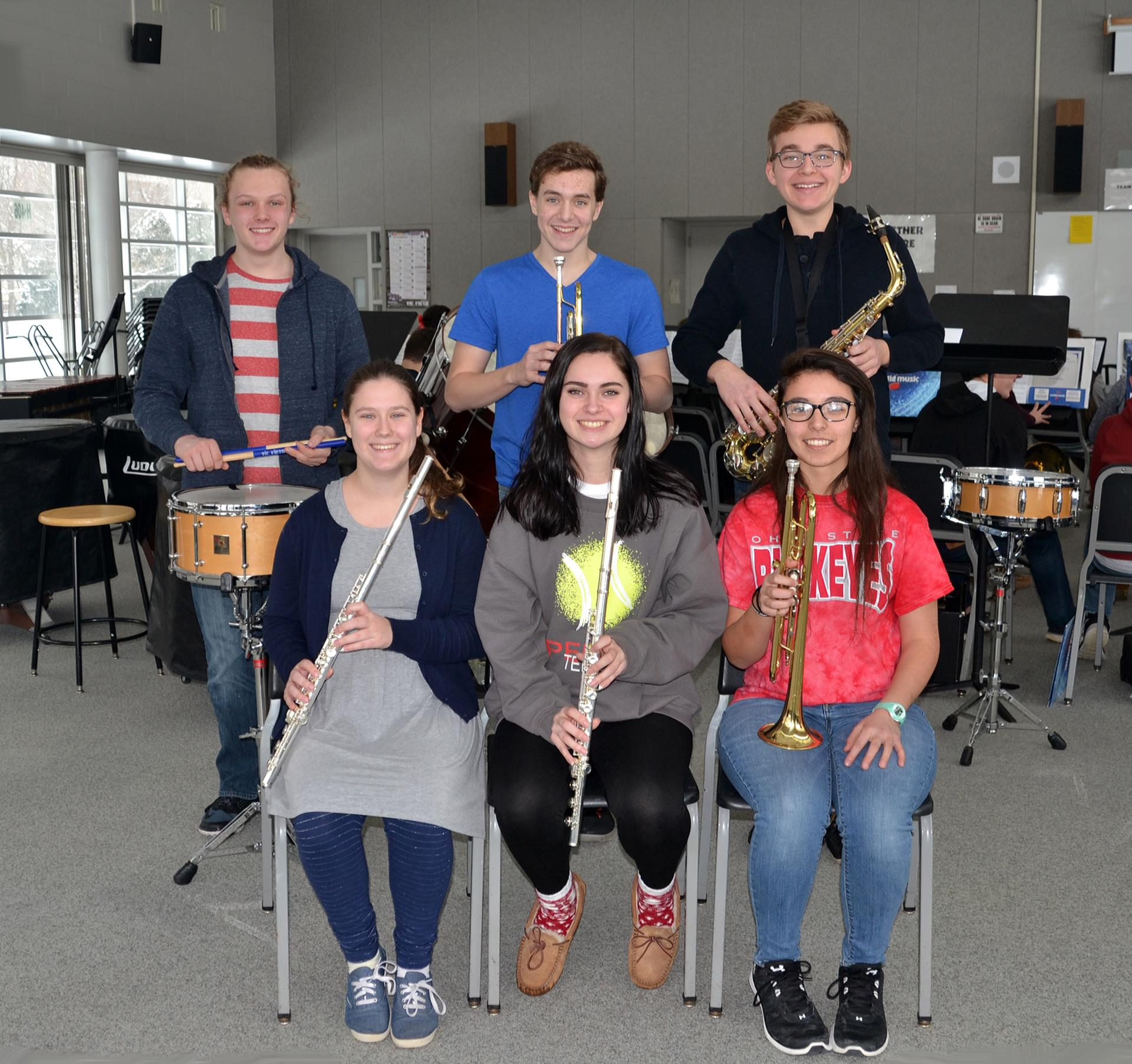 Perry High School band members receiving a Superior Rating for their Instrumental Solos in the Ohio Music Association's 2018 Solo & Ensemble Adjudicated Event are: (front row, from left) Riley Kuhn, Emma Kurtz, and Cassandra Warfield, (back row, from left) Gavin Tannish, Patrick Noonan, and Kirk Hodkinson. Not pictured are: Madeleine Pierce, Tia Gillespie, and Hannah Wren.