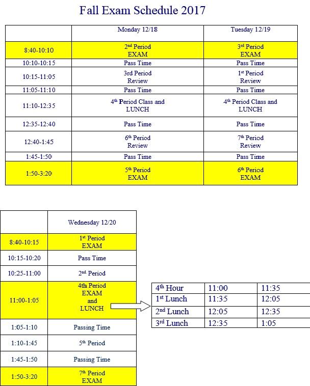 Fall 2017 Semester Exam Schedule
