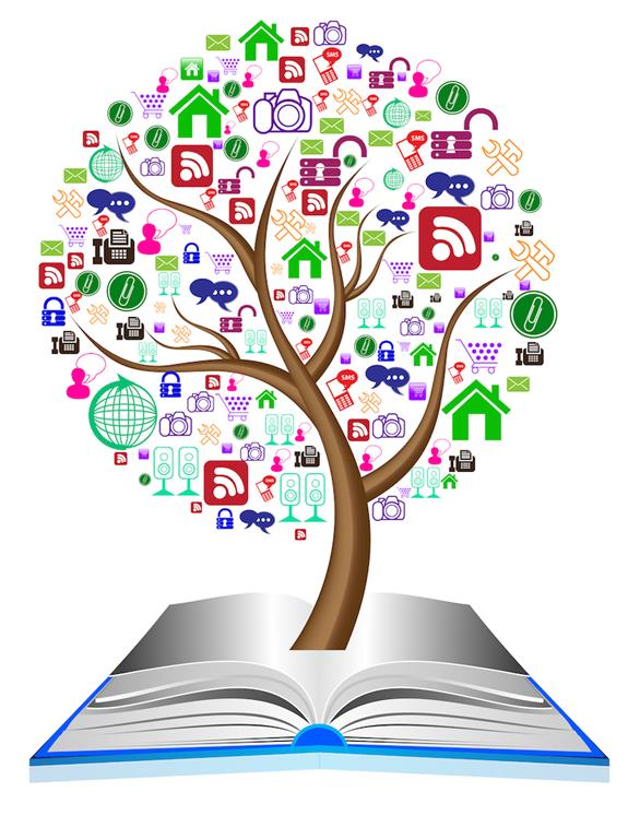 Tree with Social Media Icons in Book