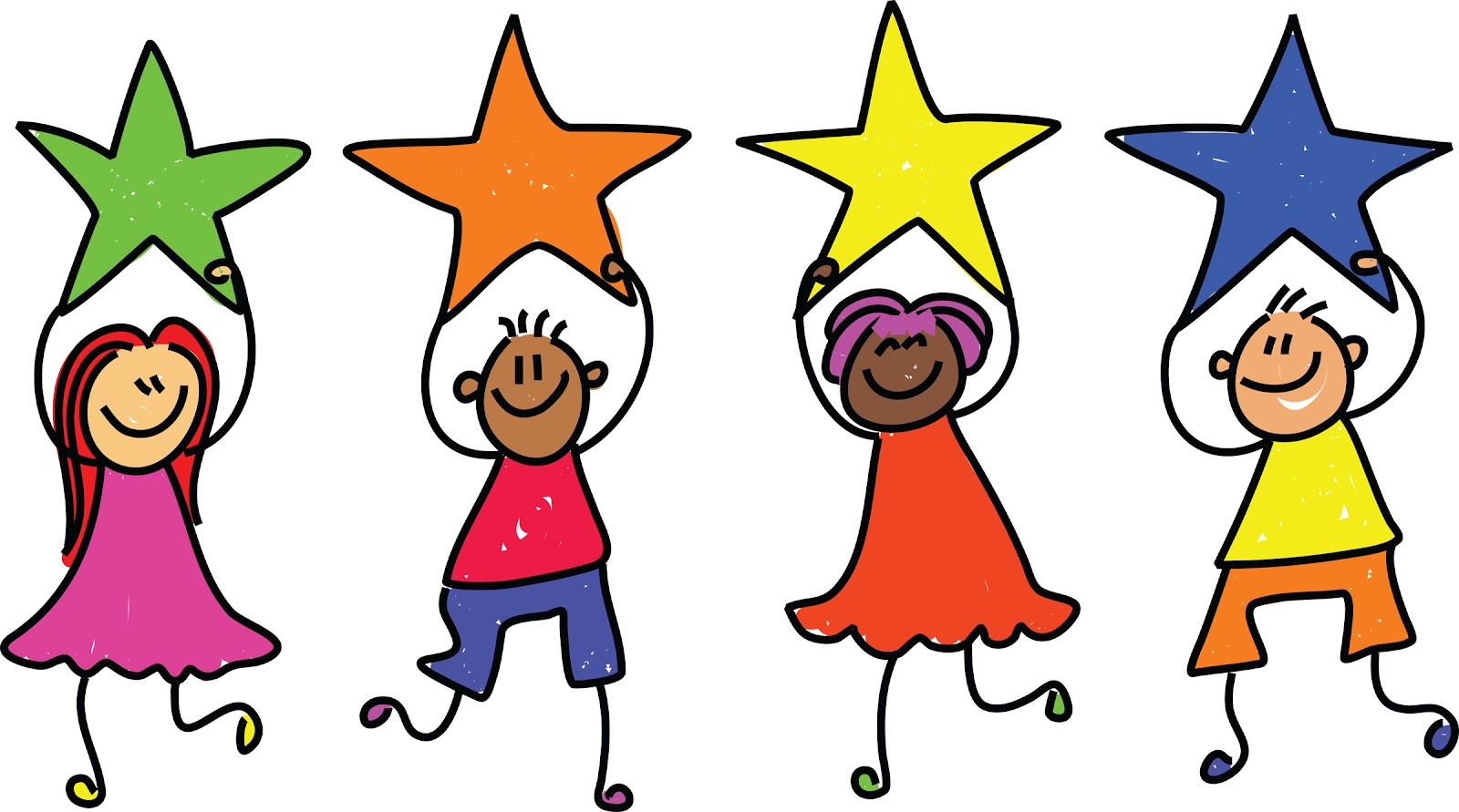 cartoon students holding stars
