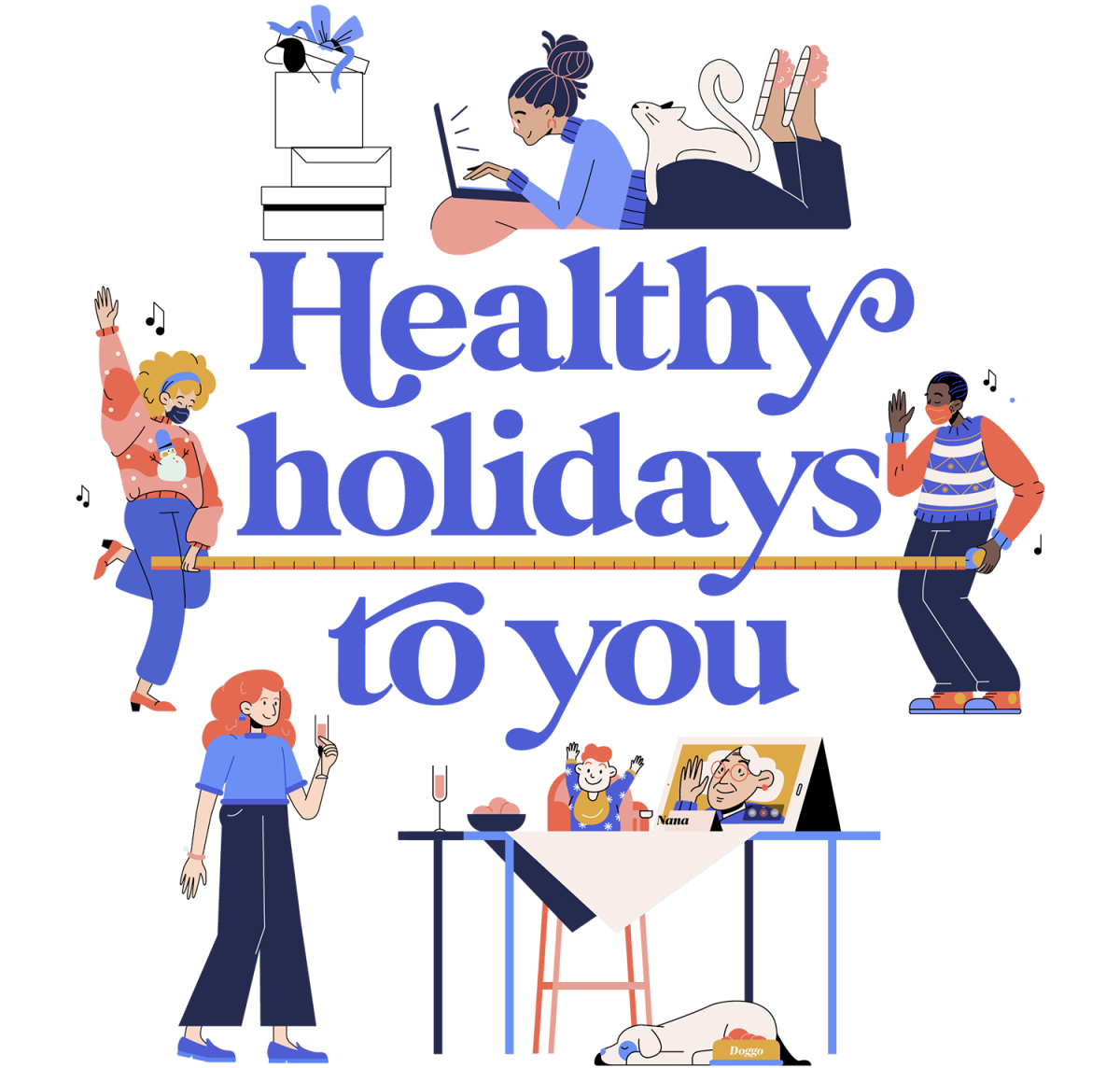 Healthy holidays to you icon
