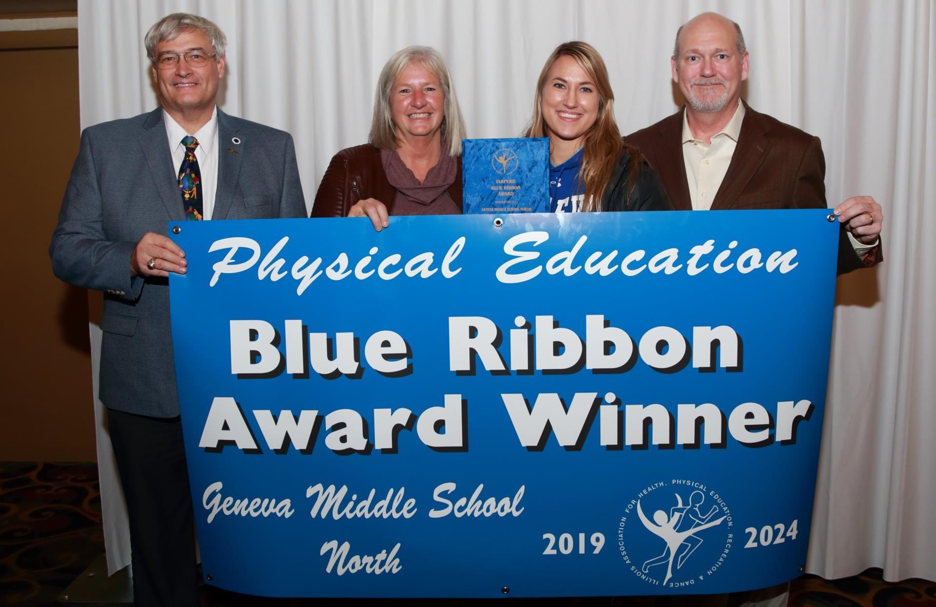 From left: Superintendent Kent Mutchler, GMS North PE Teachers Janet Nothnagel, Liz Assell, and Principal Larry Bidlack.