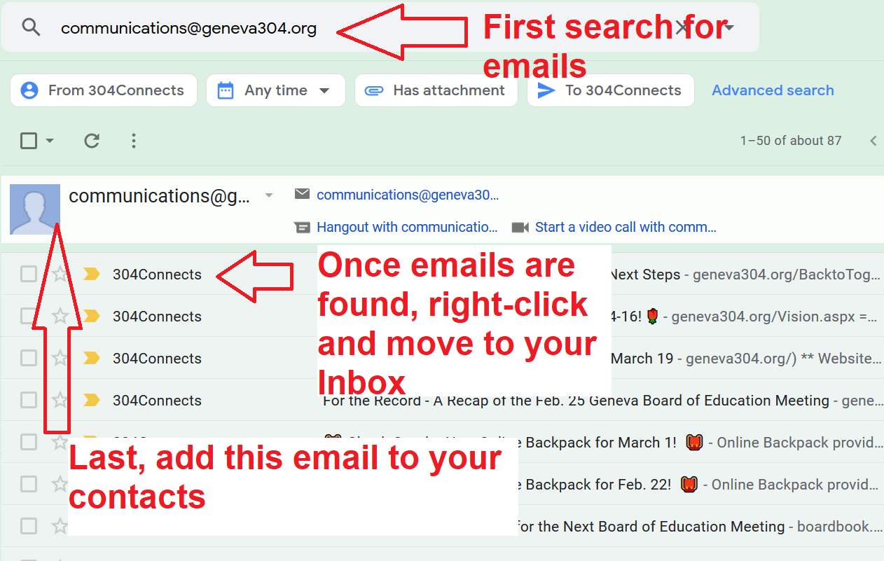 Gmail directions