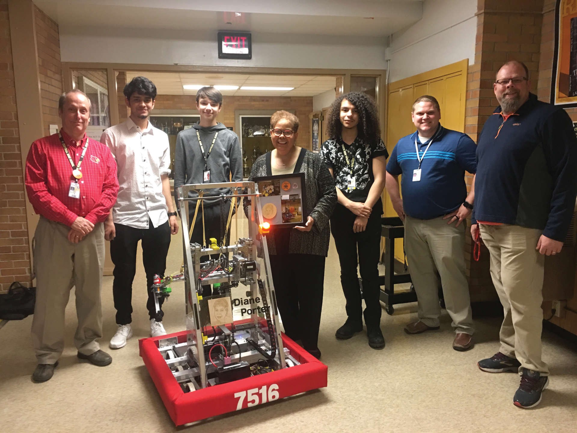 The robotics team at Central High School, the Centrons, named their first robot in honor of Jefferson County school board chairwoman Diane Porter. (Photo provided by JCPS)