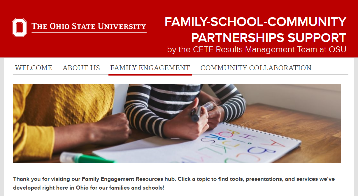 Landing page of OSU's Family School Community Parntership Support webpage.